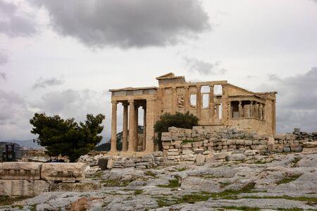 Ruin of the Erechtheion temple at Acropolis, Athens, Greece