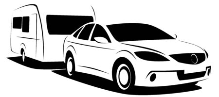 Dynamic vector illustration of a passenger car towing a caravan trailer for a camping adventure. Image can be used as a logo for an adventure company Stock Vector - 130846815