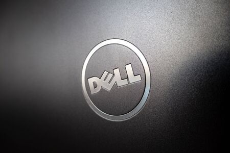 OSTRAVA, CZECH REPUBLIC - OCTOBER 25, 2019: The logo of the Dell company on an open cover lid of the grey notebook