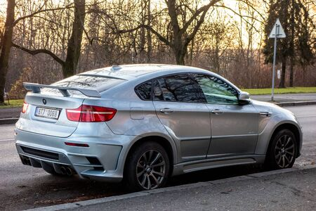 OSTRAVA, CZECH REPUBLIC - DECEMBER 3, 2019: Very aggressive looking BMW X6 E71 modified by Lumma Design as CLR X 650 M. Extreme tuning can be sometimes denoted as tuzing as well Editorial