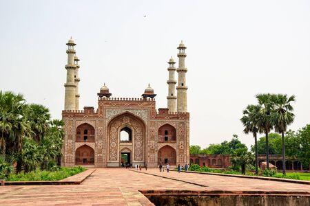 Tomb of Akbar the Great in Sikadra, Uttar Pradesh, India with indistinct tourists