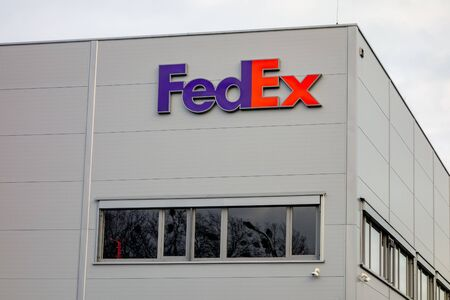 OSTRAVA, CZECHIA - JANUARY 13, 2020: The warehouse of the FedEx multinational delivery company in Ostrava-Poruba with a logo of the firm
