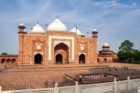 AGRA, INDIA - JULY 17, 2013: Mehmaan Khana (Guest House) which is built from red sandstone near Taj Mahal in Age, India which is one the most visited touristic places in Asia