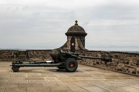Famous One O'Clock Gun (L118 Light Gun) howitzer in Edinburgh Castle which is used for ceremonial firing almost every day