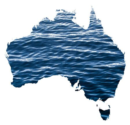 Map of Australia with a photo of water surface in the background as a symbol of floods which are destroying the country 版權商用圖片
