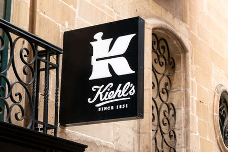 MDINA, MALTA - OCTOBER 29, 2019: The logo of Kiehls company above the entrance to one of its stores. The company sells premium cosmetics.