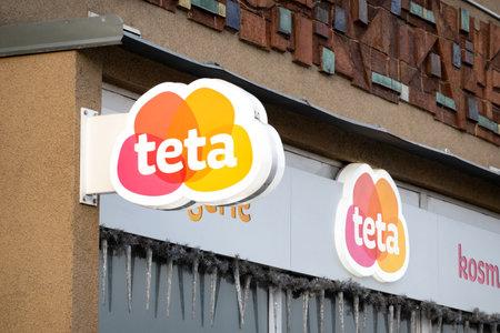 HAVIROV, CZECH REPUBLIC - JANUARY 24, 2020: Banner with a logo of Drogerie Teta drug store mall in daylight