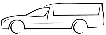 Dynamic vector illustration of an aerodynamic European hearse (funeral car) which can be used as a logo for funeral services company