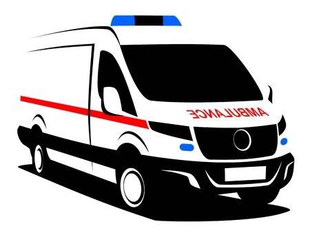 Dynamic vector illustration of an ambulance van used for transporting patience. It can be used as a logo of a hospital service.