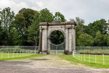 Rossdhu Front Gate of medieval Clan Colquhoun estate near Loch Lomond in Scotland, UK