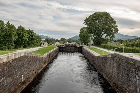 Gate locks at Caledonian Canal in Fort William, Scotland, UK. It connects Inverness, Fort Augustus, Loch Ness and Lochy and Fort William.