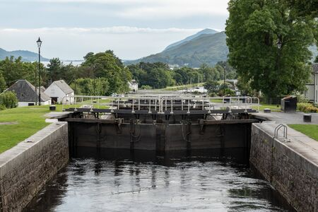 Detail of gate locks at Caledonian Canal in Fort William, Scotland, UK. It connects Inverness, Fort Augustus, Loch Ness and Lochy and Fort William.