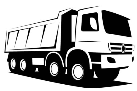 Dynamic vector illustration of a european tipper truck with four axles used in industrial construction works