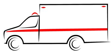 Vector illustration of an American ambulance truck car at side view. Mobile unit vehicle which helps patient with treatment and transport