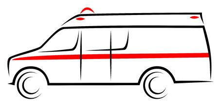 Vector illustration of an American ambulance car at side view. Mobile unit vehicle which helps patient with treatment and transport