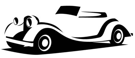 Vector illustration silhouette of the aerodynamic historical vintage car drawn using black and white lines which can be used as a logo for a company Vettoriali