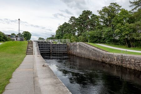 Gate locks at Caledonian Canal in Fort William city, Scotland, UK. It connects Inverness, Fort Augustus, Loch Ness and Lochy and Fort William.