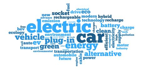 Word cloud with terms connected with electric cars, plug-ins, hybrids and modern ecological means of transportation for future