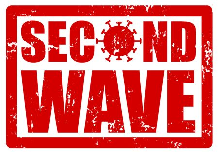 Red grunge stamp with a text SECOND WAVE to show that the corona virus COVID-19 pandemic is returning. O was replaced by the image of the virus SARS-CoV-2 Imagens