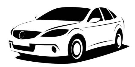 Dynamic illustration of a modern aerodynamic fastback car which can be used as a logo