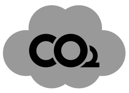Simple vector illustration as an icon of a cloud of CO2 (carbon dioxide) greenhouse gas which pollutes our atmosphere