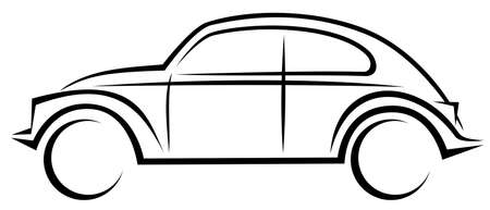 Dynamic simple vector illustration of a historical vintage car form 1950s and 1960s Illustration