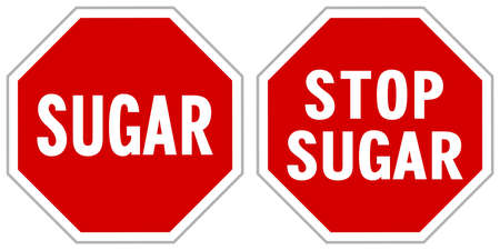 Vector illustration of red STOP traffic signs to cease unhealthy sugar in low-carb ketogenic diet know as keto