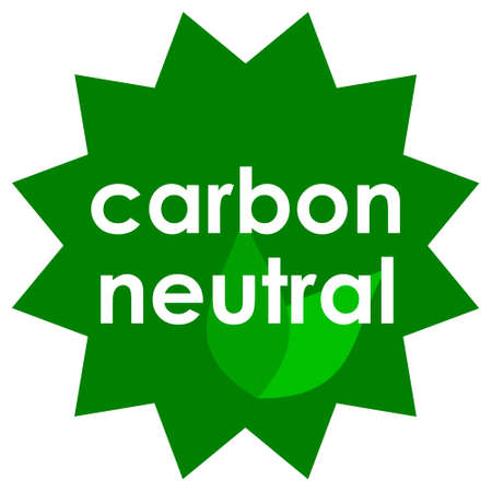 The star badge with carbon neutral text showing the product is environmental friendly and caused low CO2 emissions Vectores