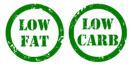 Green stickers for food with low fat and sugar levels for various types of dieting