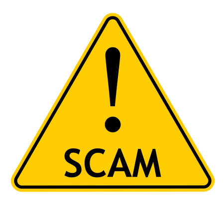 Vector illustration of yellow triangle warning sign with exclamation mark and SCAM text