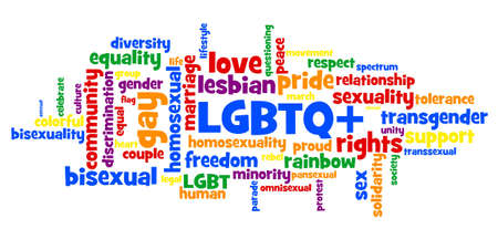 Wordcloud of tags connected with LGBTQ+ movement in rainbow colour to support sexual minorities like gay, lesbian, bisexual, transgender, questioning and others like pansexual, asexual, and omnisexual