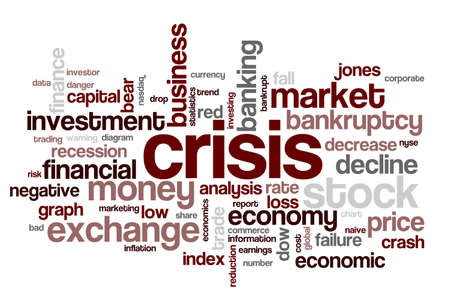Wordcloud with tags and words connected with financial crisis and declines in stock markets