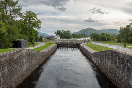Gate locks at Caledonian Canal in Fort William, Scotland, UK connecting Inverness, Fort Augustus, Loch Ness, Lochy and Fort William.