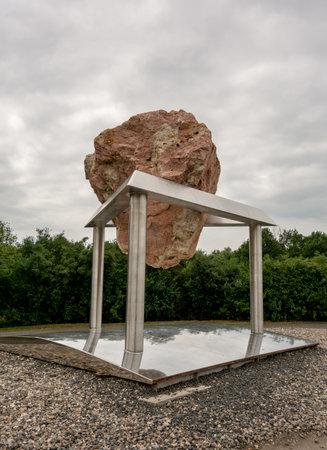 TEREZIN, CZECHIA - JUNE 3, 2018: The Law of Irreversibility (Zakon Nezvratnosti) memorial in Terezin, Czech Republic created by the sculptor Ales Vesely to commemorate Holocaust issue