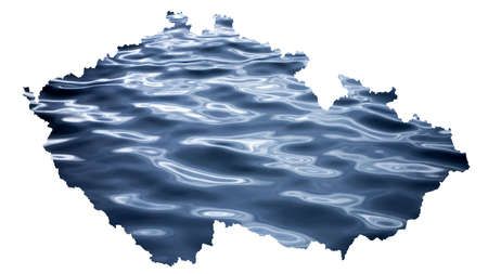 Map of Czech Republic (Czechia) with a photo of water surface as a symbol of floods which are destroying the country