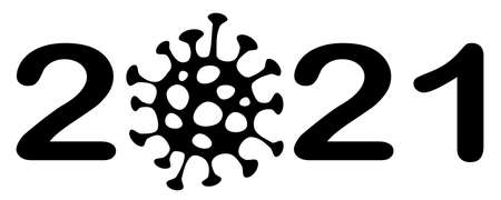 The text of the New Year 2021 which is coming and probably will be heavily coronavirus effected with 0 replaced with an image of virus