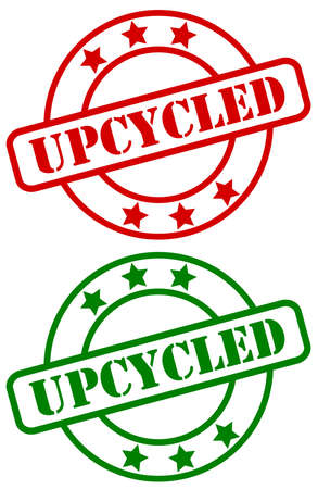 Vector illustration of a green and red UPCYCLE sign for products using this modern approach to ecology and sustainably use a product further before recycling it Stockfoto - 160681639