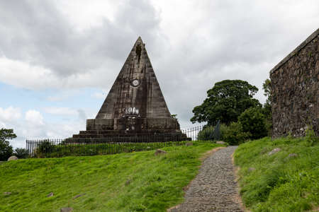 Ancient Star Pyramid built in 1863 by William Drummond in Valley Cemetery, Stirling, Scotland, UK Banco de Imagens