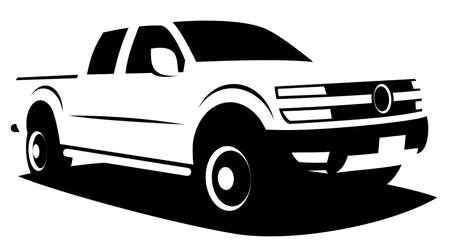 Vector illustration of powerful American pickup truck with all wheel drive