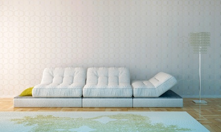 Composition from a white leather sofa, a crystal floor lamp and a white carpet, against a white wall