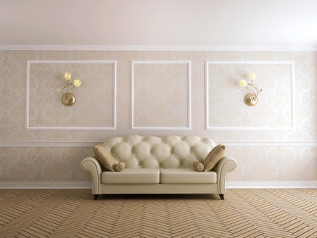 Classical sofa at a beige wall with white moldings