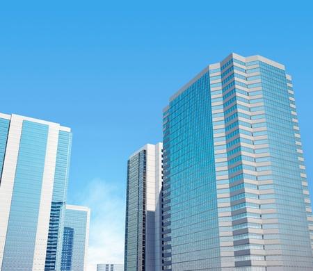Glazed office buildings against the dark blue sky