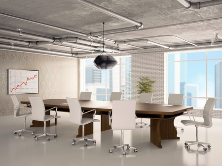 sala de reuniones: Oficina de interior en el que se encuentran: una mesa, sillas, tubos en el techo, el aparato, pizarra, una flor y ventanas Foto de archivo