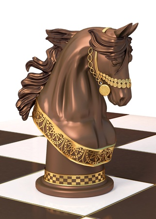 Chess figure of a horse on a board