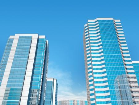 City against the dark blue sky