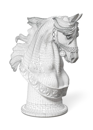 xadrez: 3D model of a horse head fitted by a grid on a white background