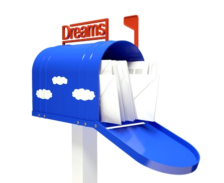 Dark blue mail box with dream letters