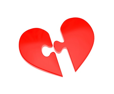 On a white background two slices of a puzzle in the form of heart