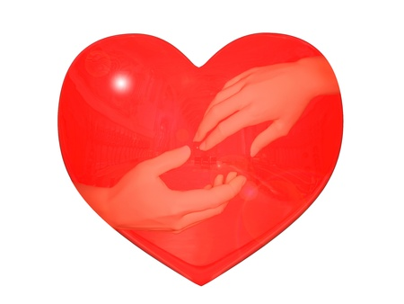 On a white background red heart in which are reflected, hands lasting to each other
