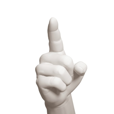The hand specifies upwards on a white background